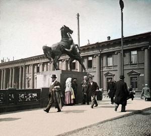 цветное фото 1896 года-Петербург Аничков мост