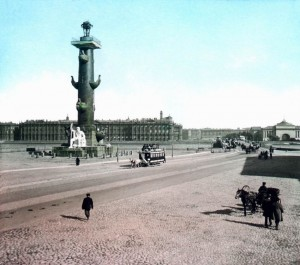 цветное фото 1896 года-петербург Стрелка Васильевского острова