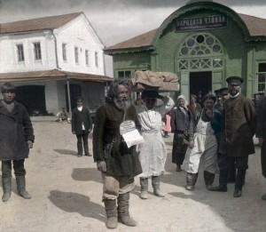 цветное фото 1896 года-Москва Сборщик благотворительных взносов