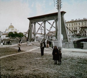 цветное фото 1896 года-Петербург Египетский мост