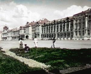 цветное фото 1896 года-Царское село Екатерининский дворец